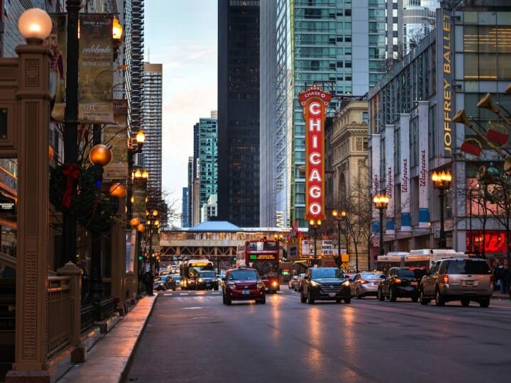 Chicago City Streets at Christmas