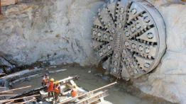 Tunnel boring machine on construction site building metro