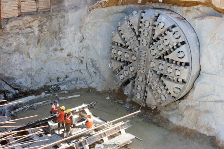 Tunnel boring machine on construction site building metro