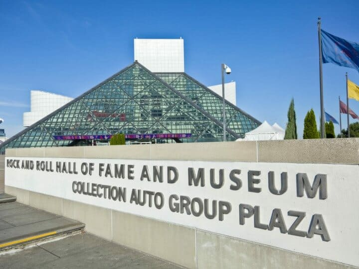 Rock and Roll Hall of Fame Sign, Museum and Flags